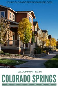 telecommuting in colorado springs banner with picture of gold hill mesa neighborhood