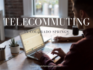 telecommuting banner with a man on a laptop