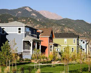 Homes with Pikes Peak in background in gold hill mesa
