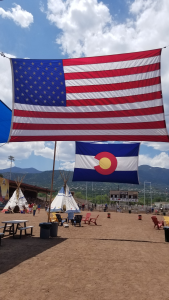 10 years gold hill mesa celebration american flag and colorado flag picture