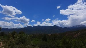 Colorado Distant Mountains Photo Blue Sky with Clouds