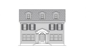 Line Art of a Colonial Style Home