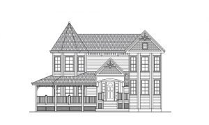 Line Art of a Victorian House Style
